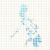 Philippines Map Blue Dot Pattern