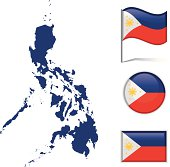 Philippines map & flag