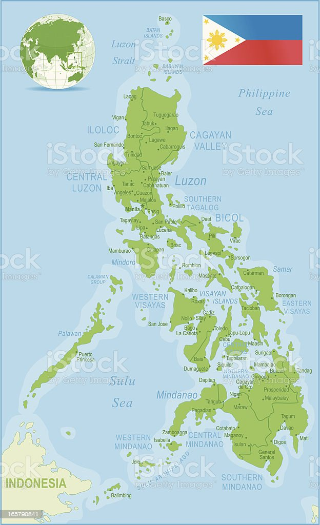 Philippines map green highly detailed vector art illustration