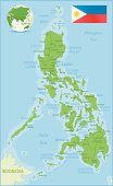 Philippines map green highly detailed