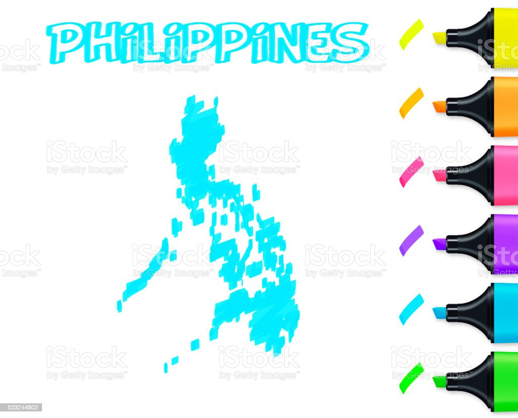 Philippines map hand drawn on white background, blue highlighter vector art illustration