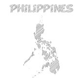 Philippines map hand drawn on white background