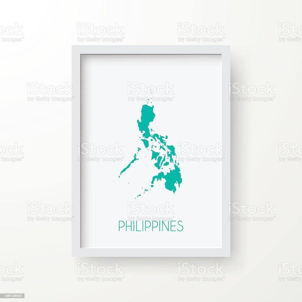 Philippines Map in Frame on White Background vector art illustration