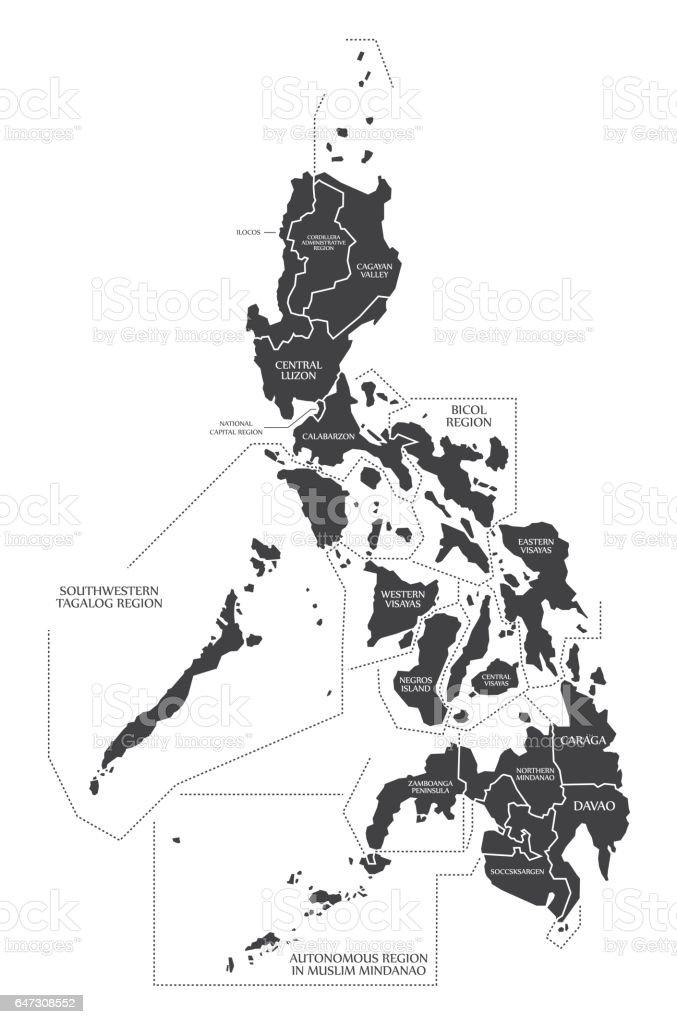 Philippines Map labelled black illustration vector art illustration