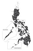 Philippines Map labelled black illustration