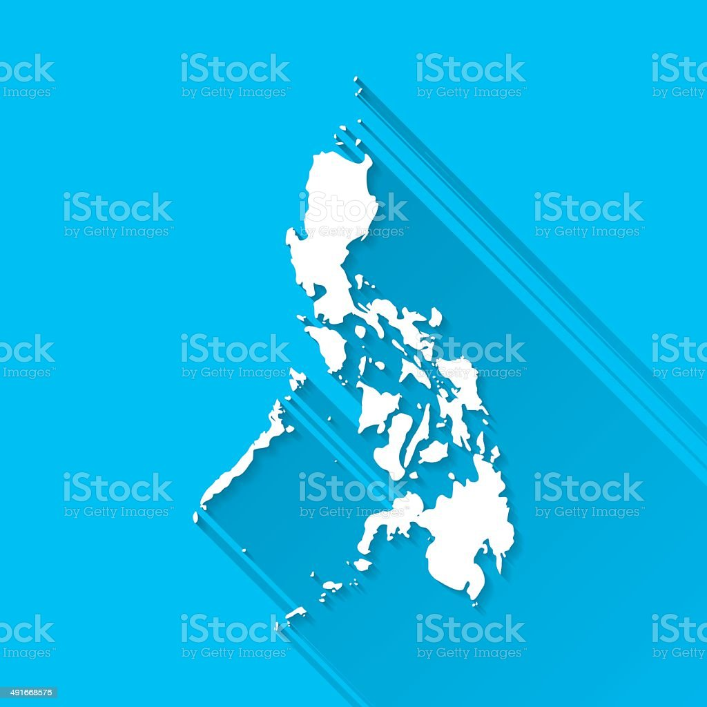 Philippines Map on Blue Background, Long Shadow, Flat Design vector art illustration