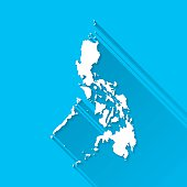 Philippines Map on Blue Background, Long Shadow, Flat Design