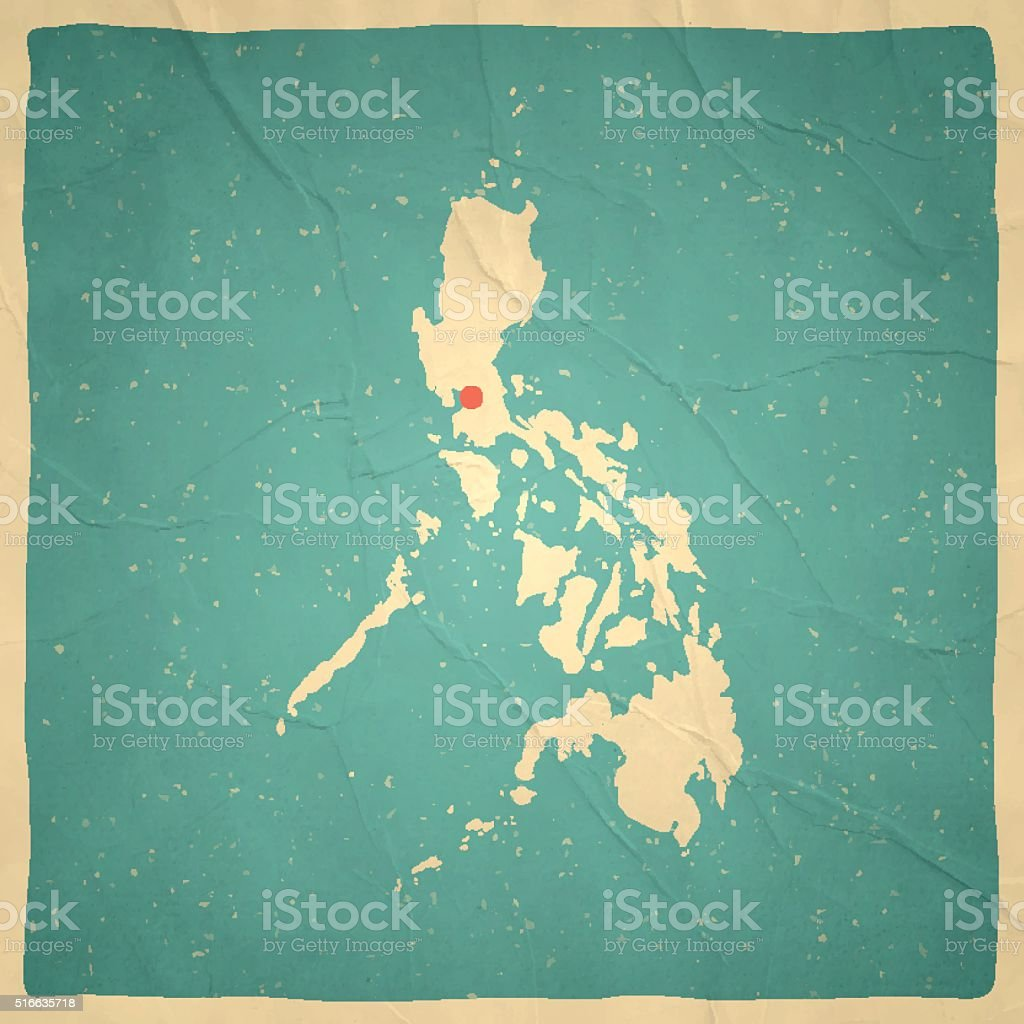 Philippines Map on old paper - vintage texture vector art illustration