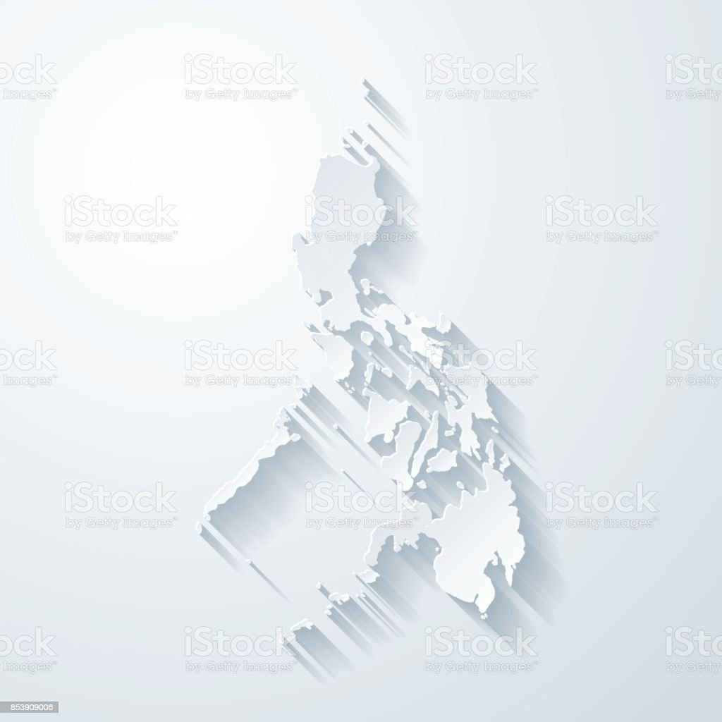 Philippines map with paper cut effect on blank background vector art illustration