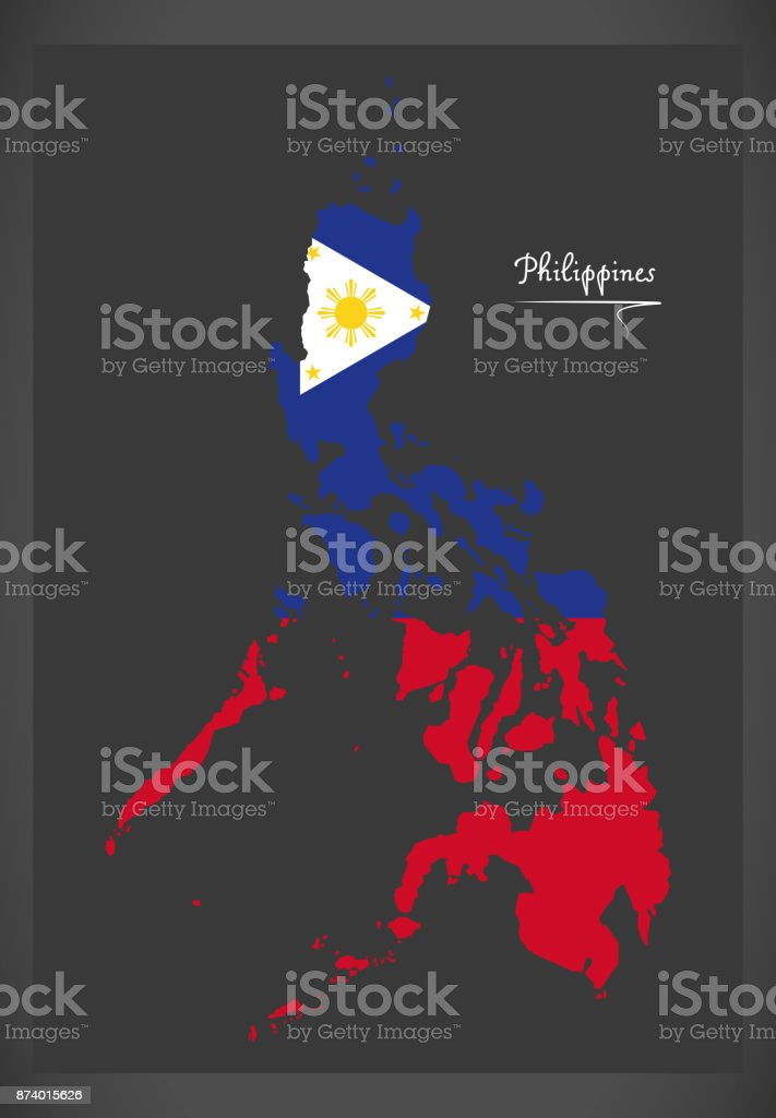 Philippines map with Philippine national flag illustration vector art illustration