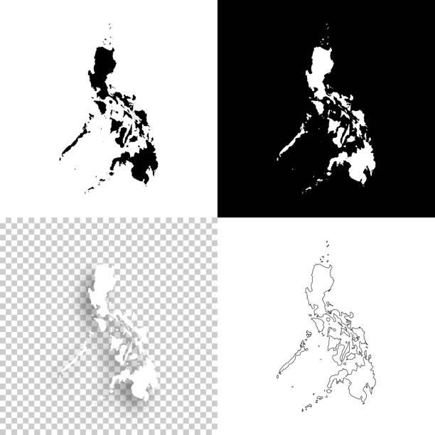 stockillustraties, clipart, cartoons en iconen met filippijnen kaarten voor design - blank, witte en zwarte achtergronden - filipijnen