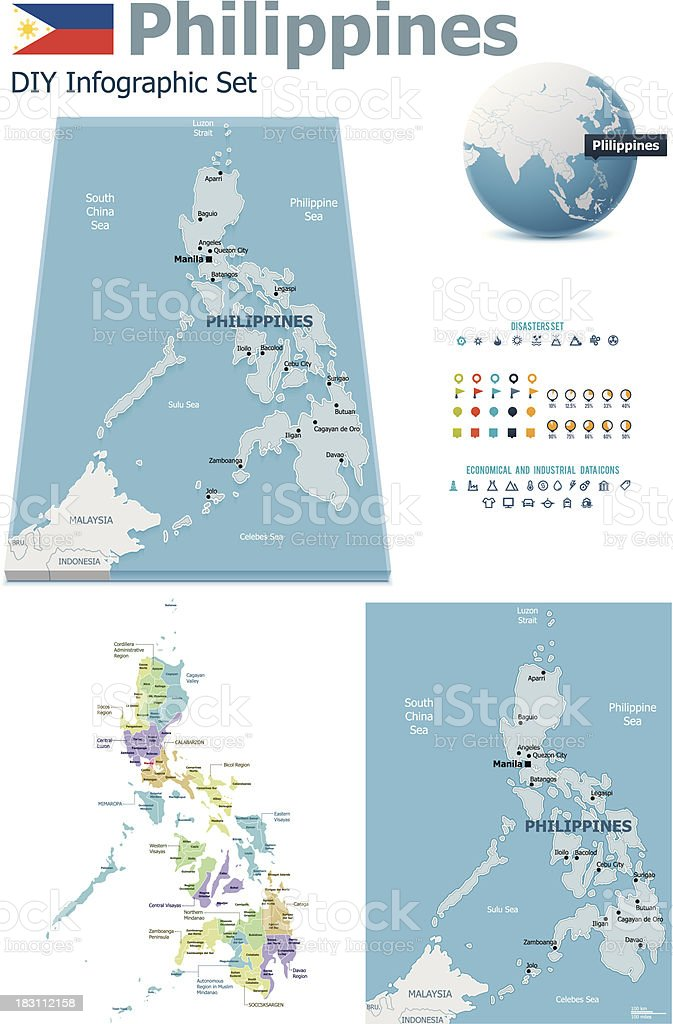 Philippines maps with markers vector art illustration