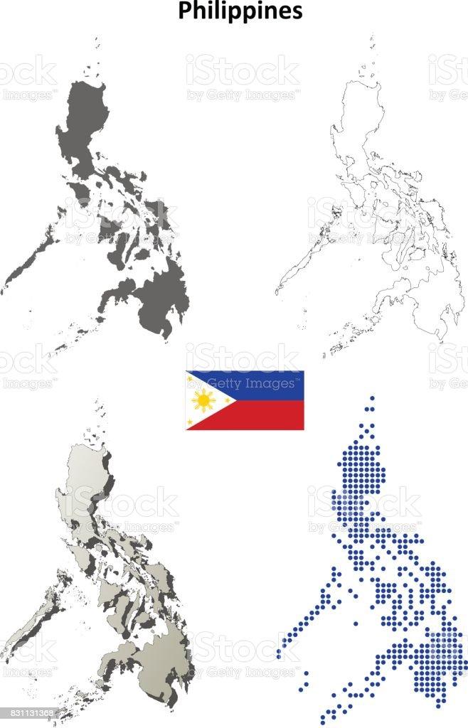 Philippines outline map set vector art illustration