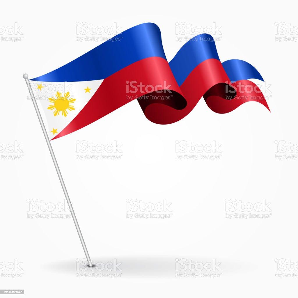 Philippines pin wavy flag. Vector illustration. vector art illustration