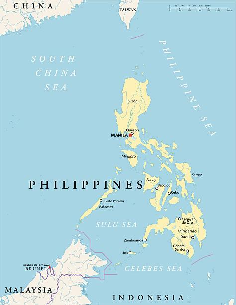 stockillustraties, clipart, cartoons en iconen met philippines political map - filipijnen