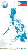 Philippines - regions, cities and navigation icons
