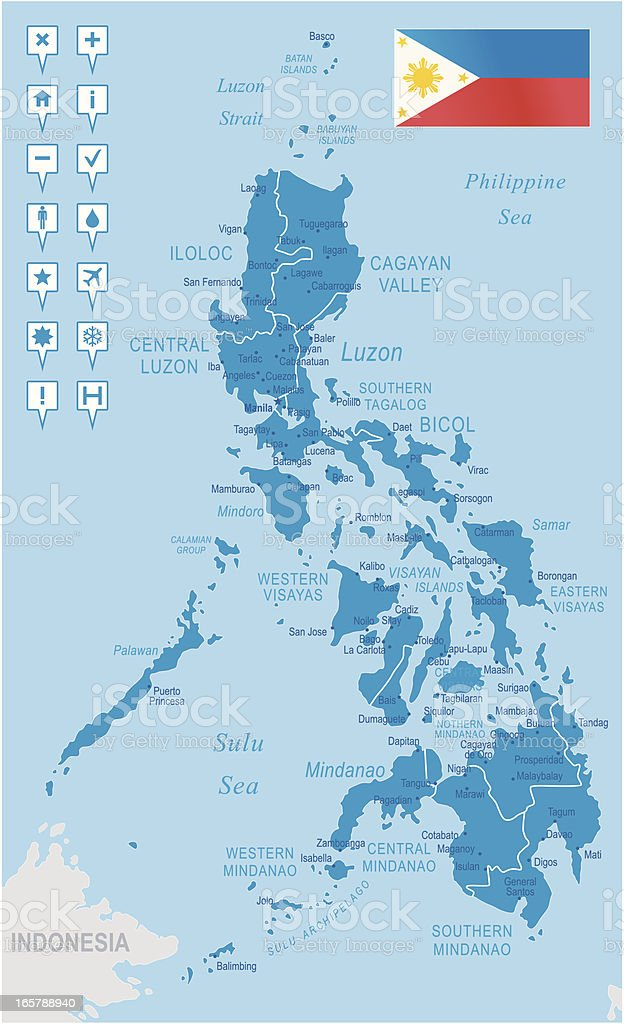 Philippines Regions Cities And Navigation Icons Stock