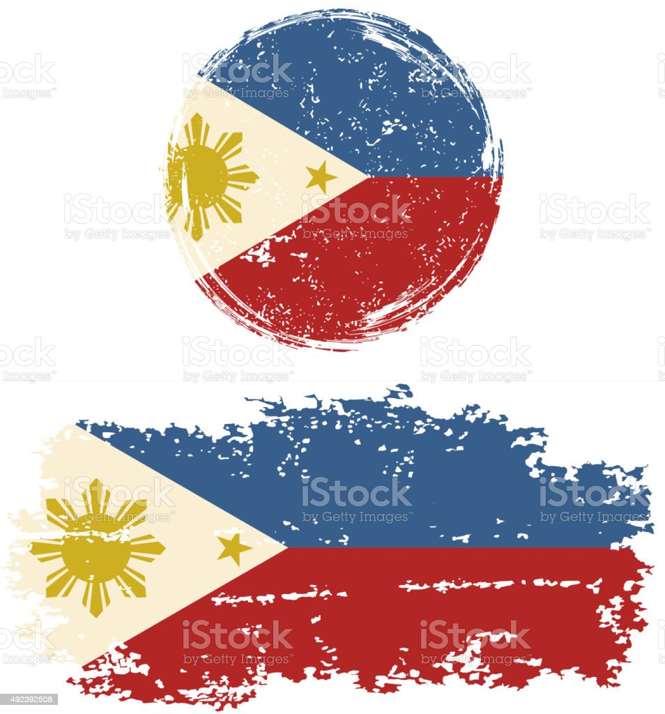 Philippines round and square grunge flags. Vector illustration vector art illustration