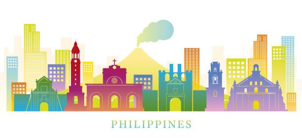 stockillustraties, clipart, cartoons en iconen met filippijnen skyline bezienswaardigheden kleurrijke silhouet achtergrond - filipijnen