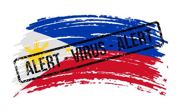 stockillustraties, clipart, cartoons en iconen met filippijnen gescheurde vlag met een zegel met de woorden alarmvirus, vector - tears corona