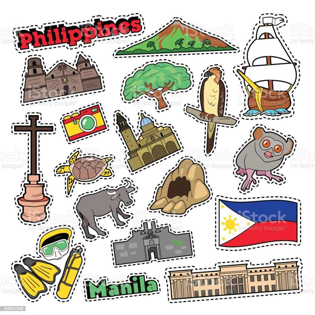 Philippines Travel Set with Architecture vector art illustration