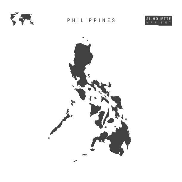 stockillustraties, clipart, cartoons en iconen met filipijnen vector kaart geïsoleerd op witte achtergrond. high-gedetailleerde zwarte silhouet kaart van filipijnen - filipijnen