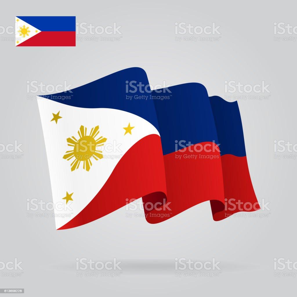 Philippines waving Flag. Vector illustration. vector art illustration