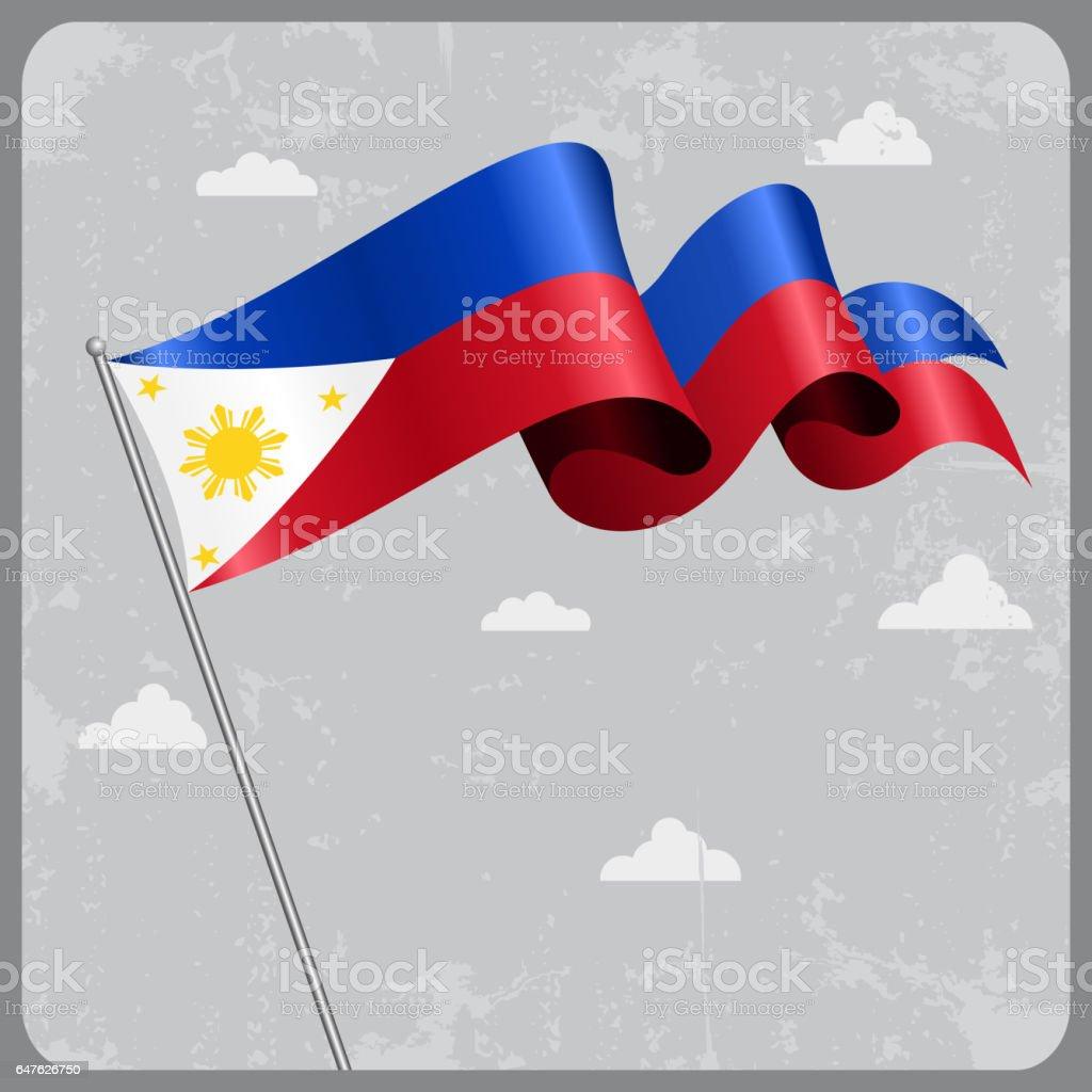 Philippines wavy flag. Vector illustration. vector art illustration