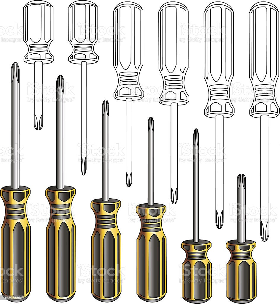 Phillips Screwdriver Set royalty-free phillips screwdriver set stock vector art & more images of construction industry