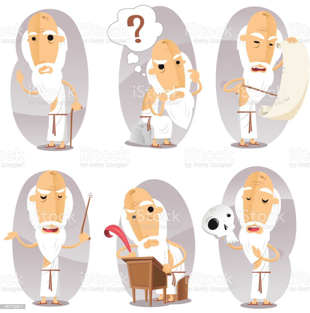 Philosophers Philosophy Philosophical Philosopher in Action Set royalty-free stock vector art