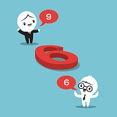 philosophy concept illustration with two businessmen arguing whether a number on the floor is a 6 or a 9
