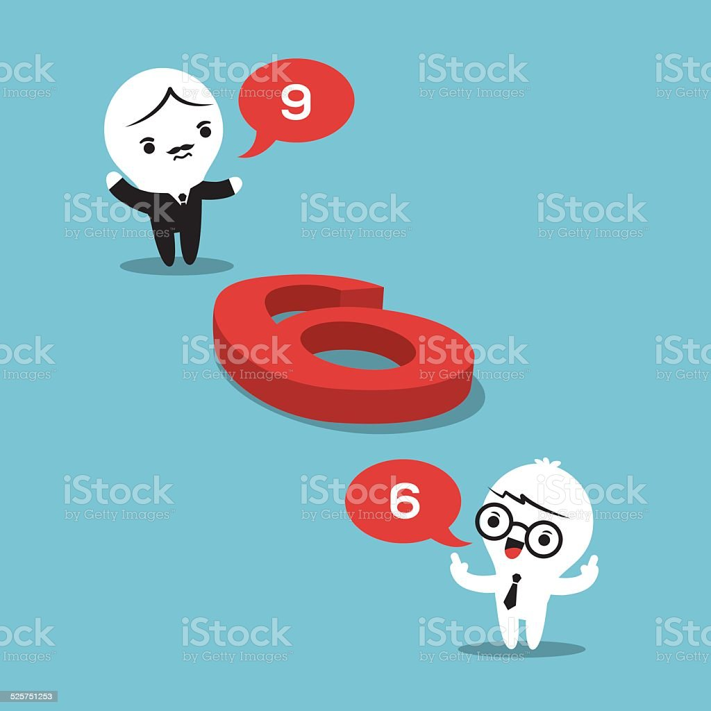 philosophy concept illustration with two businessmen arguing vector art illustration