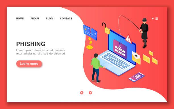 ilustraciones, imágenes clip art, dibujos animados e iconos de stock de phishing. banner conceptual en vista isométrica plana. - robo de identidad