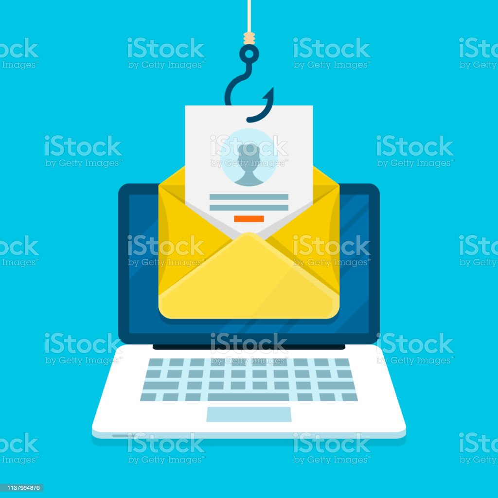 Phishing email concept with laptop computer, email login page and fishing hook. - arte vettoriale royalty-free di Accesso al sistema