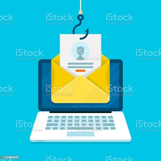 Phishing Email Concept With Laptop Computer Email Login Page And Fishing Hook - Immagini vettoriali stock e altre immagini di Accesso al sistema