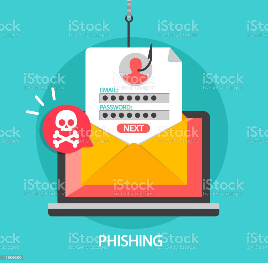 Phishing login and password on fishing hook. - arte vettoriale royalty-free di Accesso al sistema