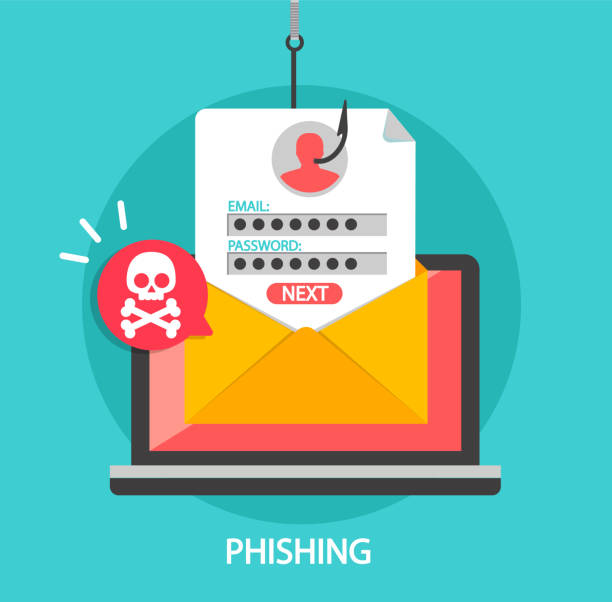Phishing login and password on fishing hook. Phishing login and password on fishing hook in email envelope. Concept of Internet and network security. Hacking online scam on laptop. Flat style vector illustration. phishing stock illustrations