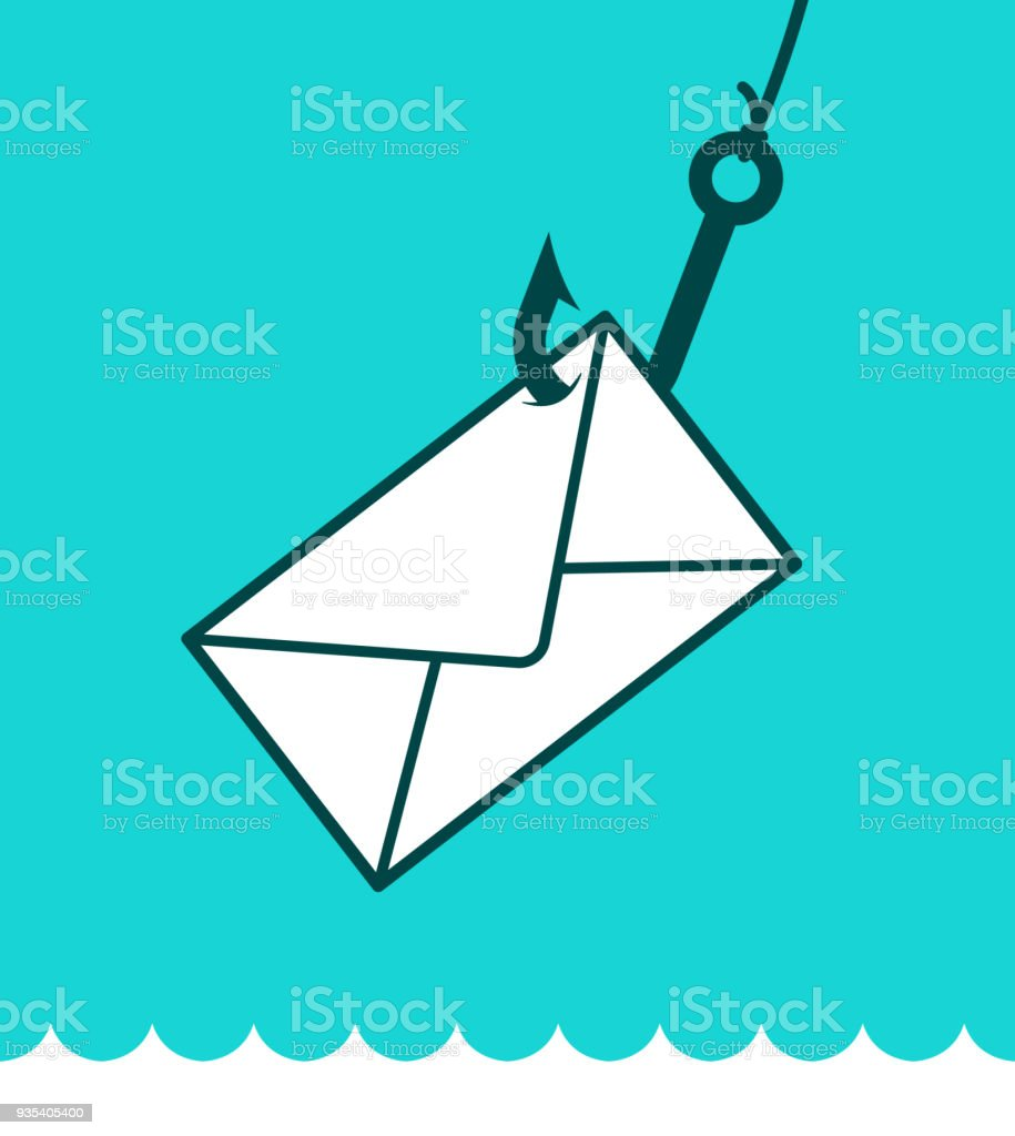 Phishing mail concept with envelope on hook vector art illustration