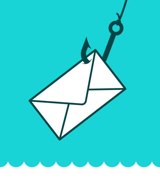 illustrazioni stock, clip art, cartoni animati e icone di tendenza di phishing mail concept with envelope on hook - phishing
