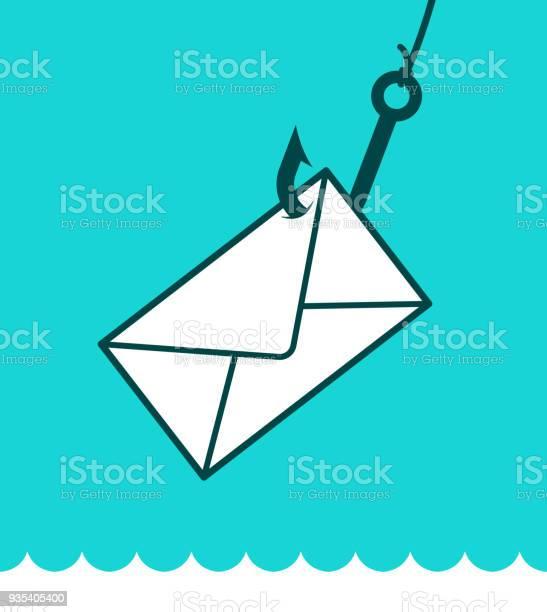 Phishing Mail Concept With Envelope On Hook - Immagini vettoriali stock e altre immagini di Acqua