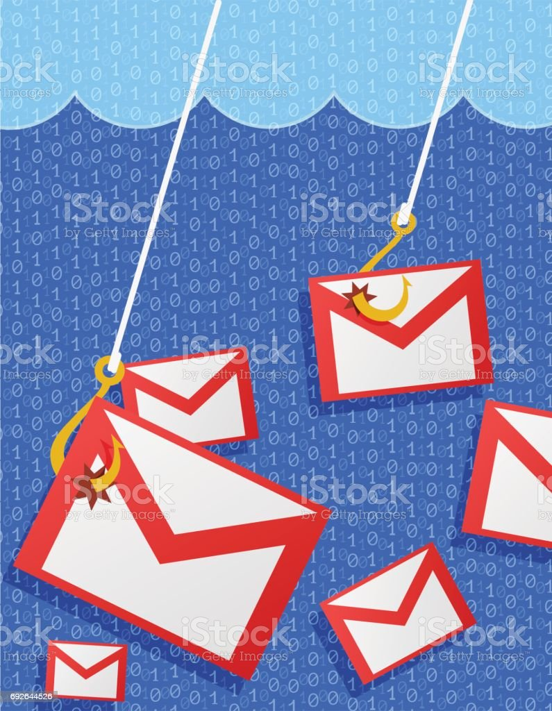Phishing mail illustration vector art illustration