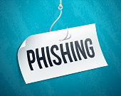 Phishing fishing paper on a fishing hook and line scam emailing concept.