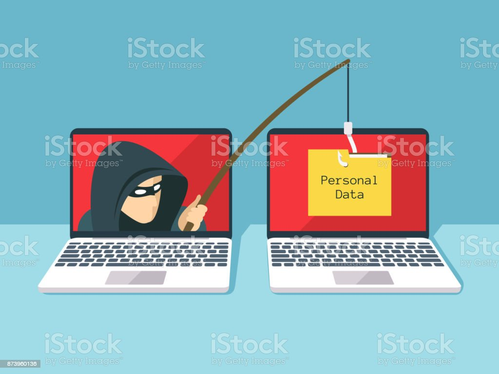 Phishing scam, hacker attack and web security vector concept - arte vettoriale royalty-free di Adulto