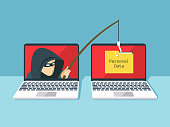 istock Phishing scam, hacker attack and web security vector concept 873960136