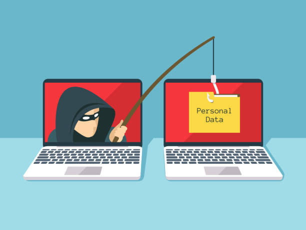 Phishing scam, hacker attack and web security vector concept Phishing scam, hacker attack and web security vector concept. Illustration of phishing and fraud, online scam and steal hacker stock illustrations