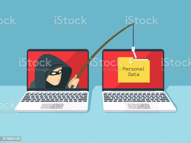 Phishing Scam Hacker Attack And Web Security Vector Concept - Immagini vettoriali stock e altre immagini di Adulto