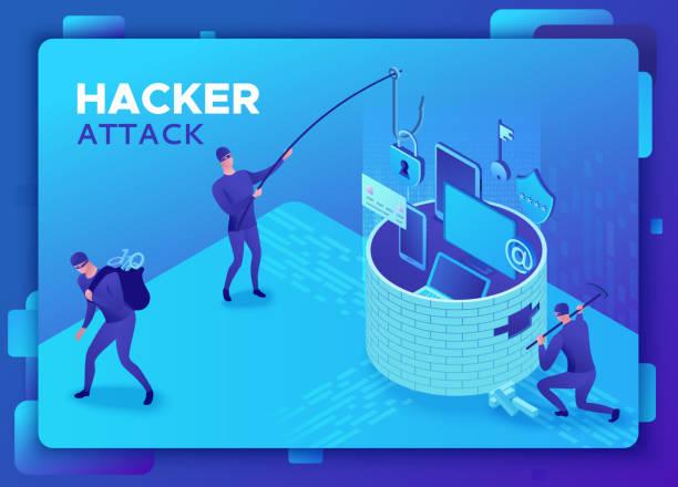 Phishing scam, hacker attack, mobile security concept, data protection, cyber crime, 3d isometric vector illustration, fingerprint, smartphone information safety vector art illustration