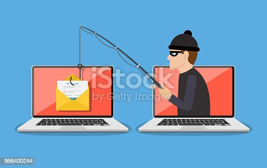 Login into account in email envelope and fishing hook. Phishing scam, hacker attack and web security concept. online scam and steal. vector illustration in flat design
