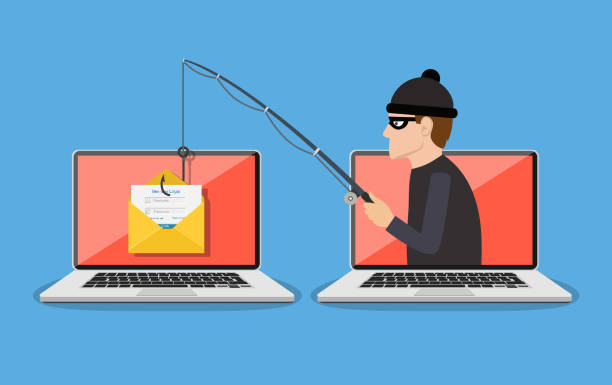 Phishing scam, hacker attack Login into account in email envelope and fishing hook. Phishing scam, hacker attack and web security concept. online scam and steal. vector illustration in flat design hacker stock illustrations