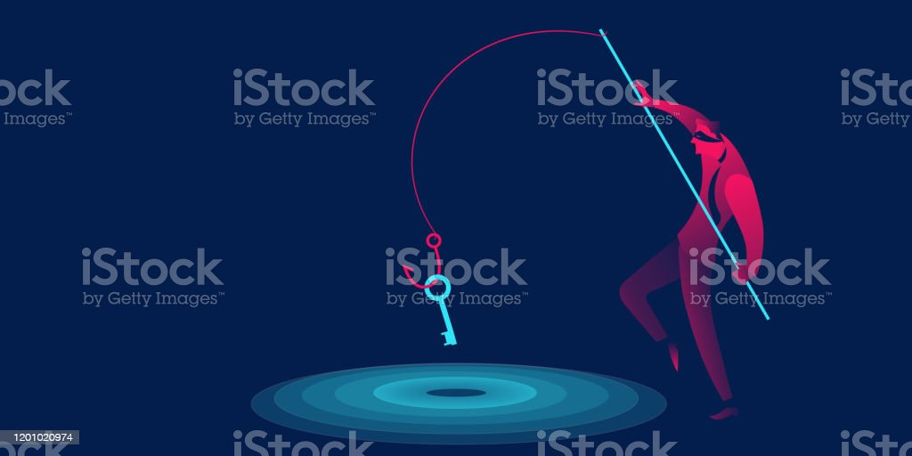 Phishing, scam, hacker business concept in red and blue neon gradients.  Man with fishing hook stealing key - arte vettoriale royalty-free di Adulto
